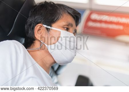 Eyes Feel Anxious Worried Coronavirus Pandemic Or Covid19 Disease, Elderly Asian Female Passenger We