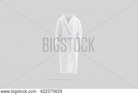 Blank White Hotel Bathrobe Mock Up, Gray Background, 3d Rendering. Empty Fluffy Terry For Body Relax