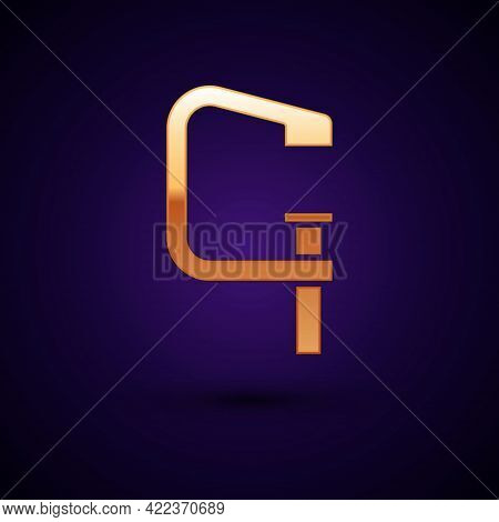 Gold Clamp And Screw Tool Icon Isolated On Black Background. Locksmith Tool. Vector