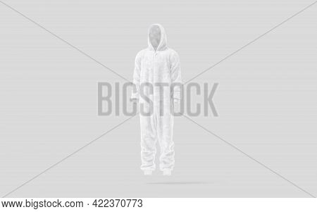 Blank White Plush Jumpsuit With Hood Mockup, Gray Background, 3d Rendering. Empty Plushy Overall Or