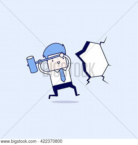 Businessman Broke Through The Wall. Smash The Wall. Cartoon Character Thin Line Style Vector.