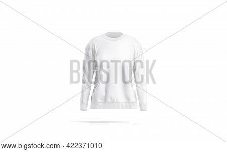 Blank White Women Sweatshirt Mockup, Front View, 3d Rendering. Empty Female Sport Textile Sweater Mo