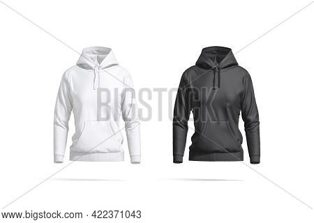 Blank Black And White Women Sport Hoodie Mockup, Front View, 3d Rendering. Empty Casual Sweat-shirt