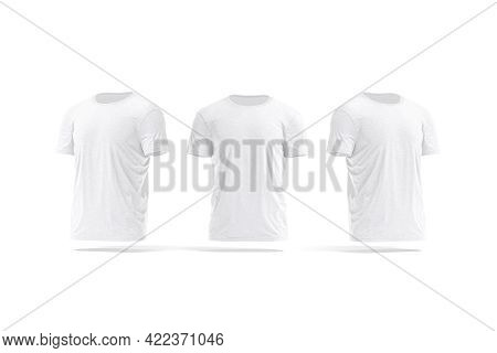 Blank White Wrinkled T-shirt Mockup, Front And Side View, 3d Rendering. Empty Crumpled Male Wear Shi