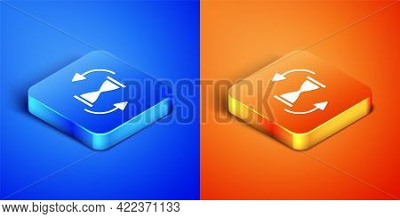 Isometric Old Hourglass With Flowing Sand Icon Isolated On Blue And Orange Background. Sand Clock Si