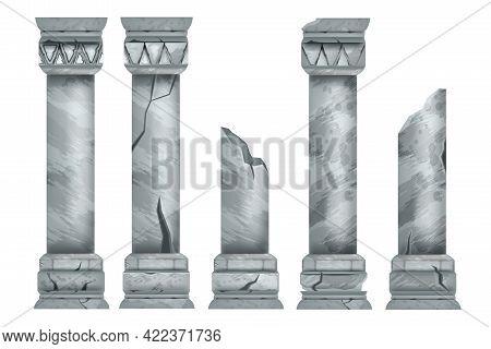 Marble Ancient Pillar Set, Isolated Vector Roman Stone Column Ruin, Temple Architecture Element. Cla