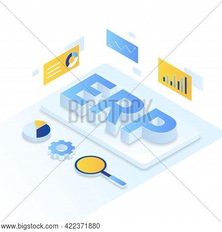 Erp Enterprise Resource Planning Illustration Isometric Style
