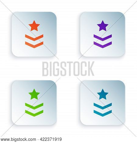 Color Military Rank Icon Isolated On White Background. Military Badge Sign. Set Colorful Icons In Sq