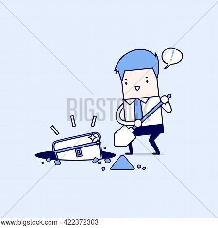 Businessman Digging Ground For A Treasure. Cartoon Character Thin Line Style Vector.