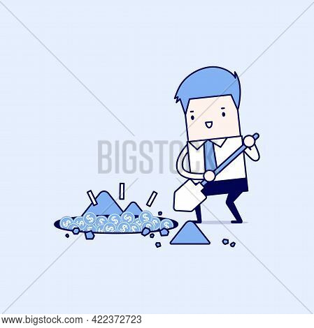 Businessman Digging A Ground To Find Treasure Coin. Cartoon Character Thin Line Style Vector.
