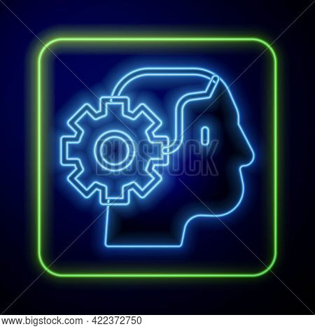 Glowing Neon Humanoid Robot Icon Isolated On Blue Background. Artificial Intelligence, Machine Learn
