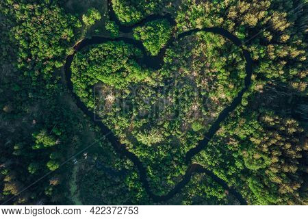 Heart shaped river in Altai territory. Summer june forest. Wonder of nature place, aerial drone view