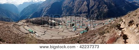 panoramatic view of Portse village - trek to Everest base camp - Nepal