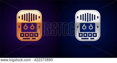 Gold And Silver Cassette Tape Player Icon Isolated On Black Background. Vintage Audio Tape Recorder.