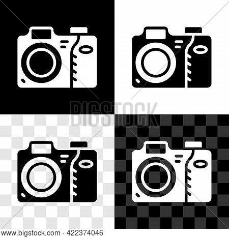 Set Photo Camera Icon Isolated On Black And White, Transparent Background. Foto Camera Icon. Vector