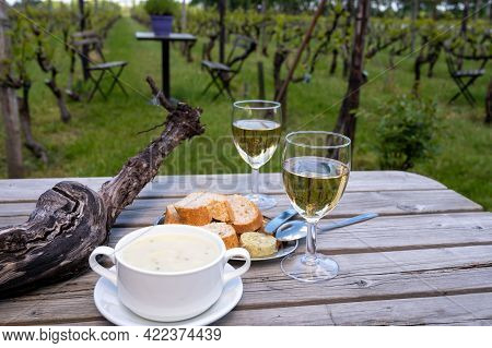 Lunch With Homemade White Asparagus Soup And Dutch White Wine Served Outdoor On Green Meadow With Vi
