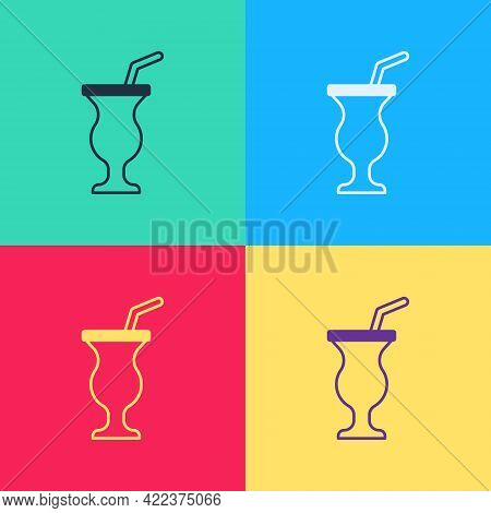 Pop Art Milkshake Icon Isolated On Color Background. Plastic Cup With Lid And Straw. Vector
