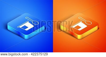 Isometric Yogurt Container With Spoon Icon Isolated On Blue And Orange Background. Yogurt In Plastic