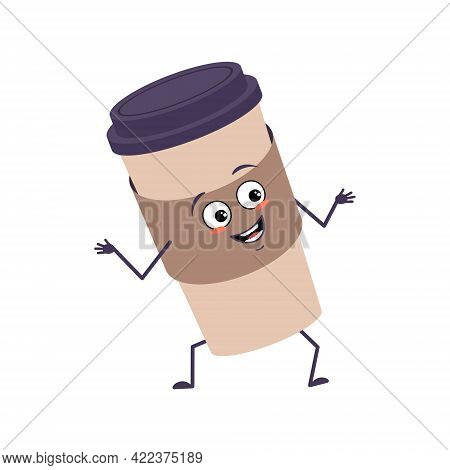 Cute Character A Cup Of Coffee With Joy Emotions, Smiling Face, Happy Eyes, Arms And Legs. A Mischie