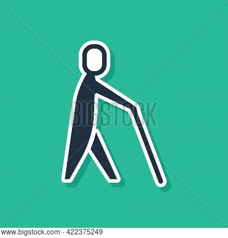 Blue Blind Human Holding Stick Icon Isolated On Green Background. Disabled Human With Blindness. Vec
