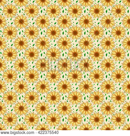 Sunflower Pattern, This Is A Seamless Pattern That You Can Use For A Variety Of Applications, Such A