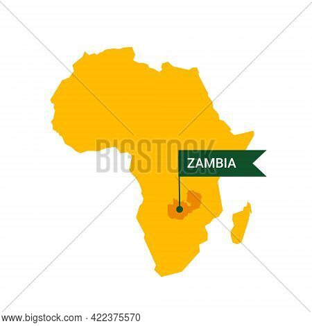 Zambia On An Africa S Map With Word Zambia On A Flag-shaped Marker.