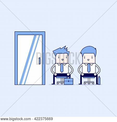 Business People Waiting For Job Interview, Recruitment. Cartoon Character Thin Line Style Vector.
