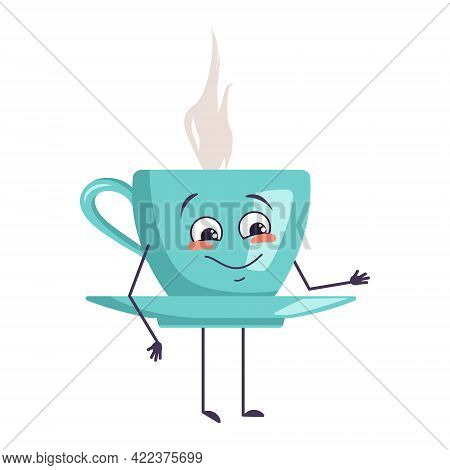 Cute Character Holding A Cup Of Tea With Emotions Of Joy, Smiling Face, Happy Eyes, Hands And Feet.
