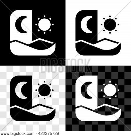 Set Ramadan Fasting Icon Isolated On Black And White, Transparent Background. Fast Day And Night. Re