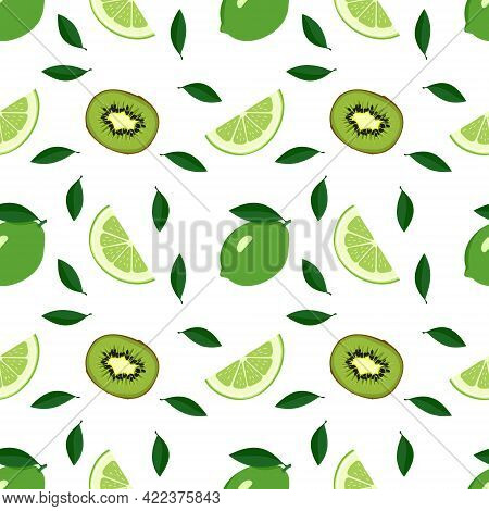 Cute Seamless Summer Citrus And Kiwi Pattern On A White Background. Print With Whole Lime, Wedges An