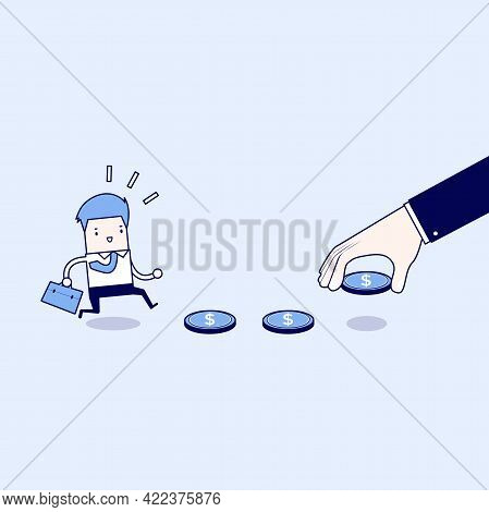 Business Hand Use Money To Entice Businessman, Bait Or Financial Trap. Cartoon Character Thin Line S