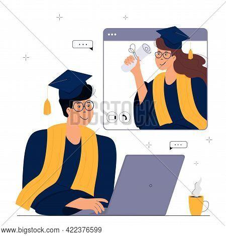 A Virtual Graduation Ceremony. Graduates Celebrate During Coronavirus Quarantine. A Man In Gown And