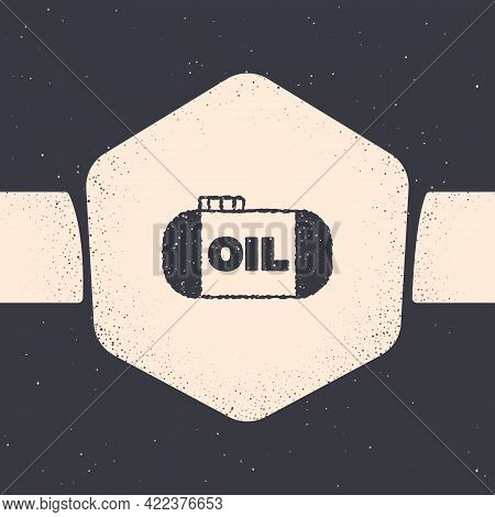 Grunge Oil Tank Storage Icon Isolated On Grey Background. Vessel Tank For Oil And Gas Industrial. Oi