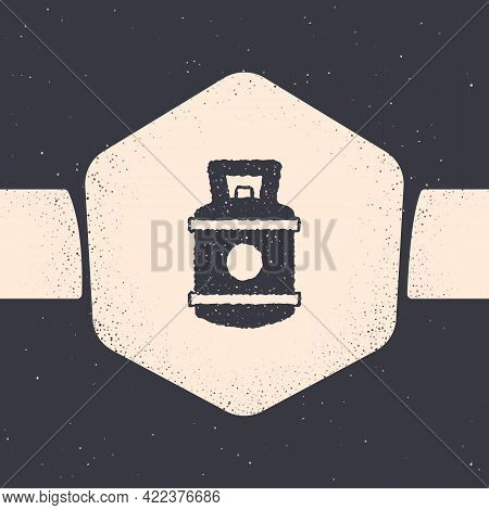 Grunge Propane Gas Tank Icon Isolated On Grey Background. Flammable Gas Tank Icon. Monochrome Vintag