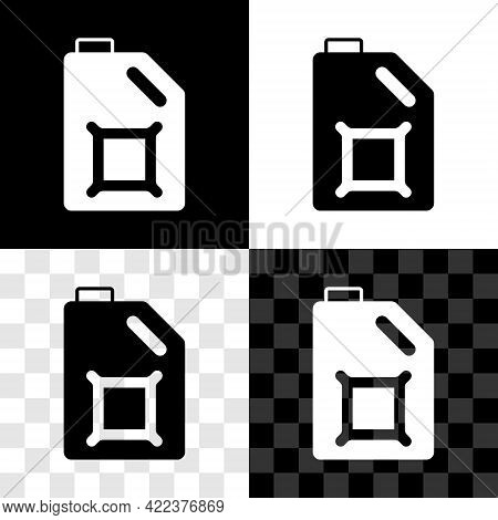 Set Canister For Motor Machine Oil Icon Isolated On Black And White, Transparent Background. Oil Gal