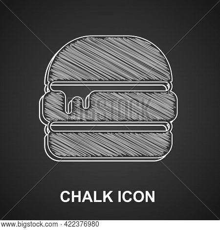 Chalk Burger Icon Isolated On Black Background. Hamburger Icon. Cheeseburger Sandwich Sign. Fast Foo
