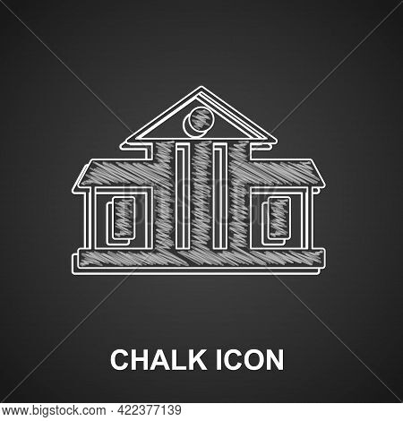 Chalk White House Icon Isolated On Black Background. Washington Dc. Vector