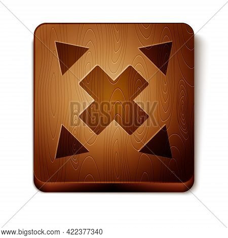 Brown Many Ways Directional Arrow Icon Isolated On White Background. Wooden Square Button. Vector
