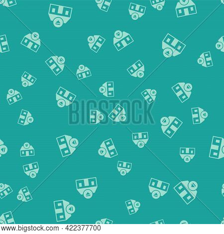 Green Front Facade Building Jewelry Store Icon Isolated Seamless Pattern On Green Background. Vector