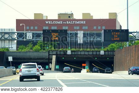 Maryland, U.s.a - May 17, 2021 - The Traffic On Interstate 95 South And 895 South Near Ezpass Toll I
