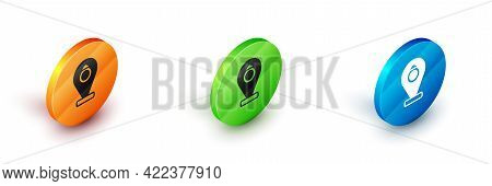 Isometric Front Facade Building Jewelry Store Icon Isolated On White Background. Circle Button. Vect
