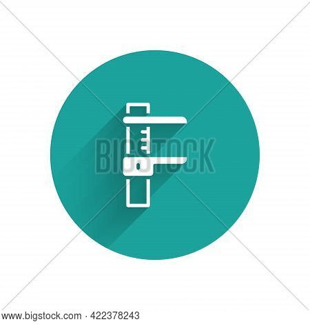 White Calliper Or Caliper And Scale Icon Isolated With Long Shadow Background. Precision Measuring T