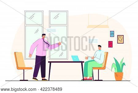 Argument Between Businessmen At Meeting. Business Partners Having Disagreement In Office Flat Vector