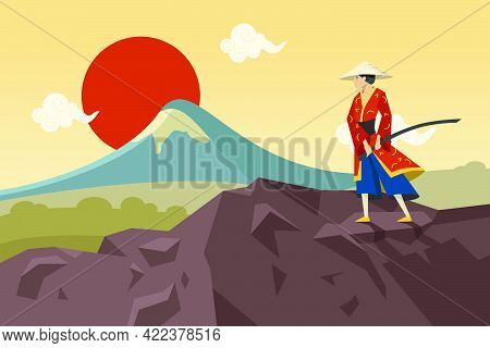 Asian Warrior With Sword Walking In Mountains And Admiring Sun. Flat Vector Illustration. Chinese Or