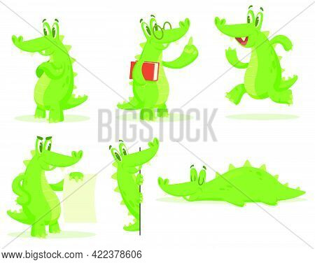 Cartoon Crocodile Character Vector Illustrations Set. Collection Of Drawings Of Cute Alligator Stand