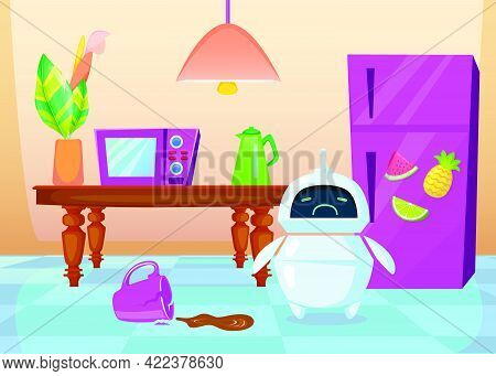 Cute Cartoon Chatbot Upset About Broken Cup. Flat Vector Illustration. Sad Bot Helping With Cleaning