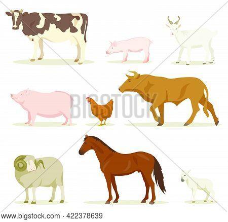 Cartoon Domestic Animals Vector Illustrations Set. Collection Of Farm Animals, Hen, Horse, Sheep, Go