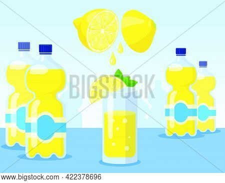 Cartoon Lemonade In Glass And Bottles Flat Vector Illustration. Process Of Making Yellow Lemonade Wi