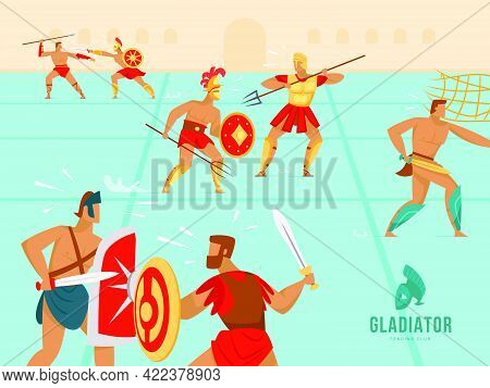 Colorful Background Design With Gladiators Fighting In Coliseum. Ancient Armed Spartan Warriors In B
