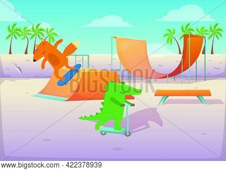 Cute Animals On Transport At Skate Park Illustration. Happy Crocodile Riding Kick Scooter, Fox Doing